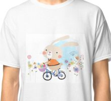 Cute Bunny on Bicycle Easter Eggs Flowers Classic T-Shirt