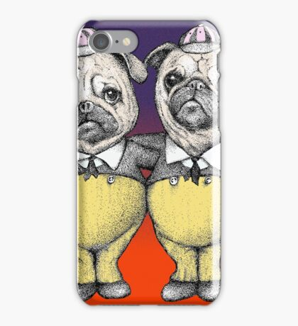 Tweedledum and Tweedledee Pugs iPhone Case/Skin
