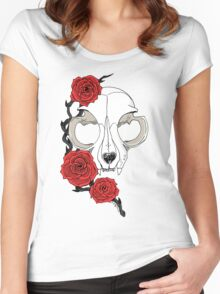 Cat skull and roses: Colored Women's Fitted Scoop T-Shirt