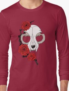 Cat skull and roses: Colored Long Sleeve T-Shirt