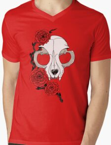 Cat skull and roses: Colored Mens V-Neck T-Shirt