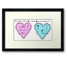 Happy Mothers Day Love You Hearts Framed Print