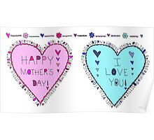 Happy Mothers Day Love You Hearts Poster