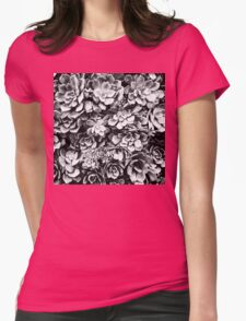 Black And White Plants Womens Fitted T-Shirt
