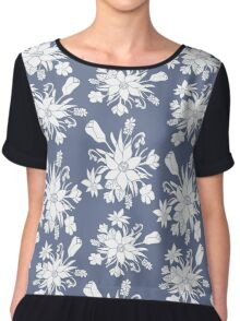 Monochrome pattern with spring flowers. Chiffon Top