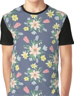 Colorful vector pattern with spring flowers. Graphic T-Shirt