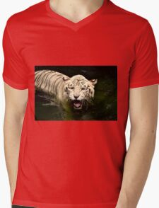 White Tiger Mens V-Neck T-Shirt