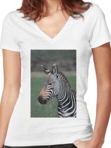 Zebra Style Women's Fitted V-Neck T-Shirt