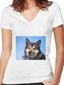 Husky Women's Fitted V-Neck T-Shirt