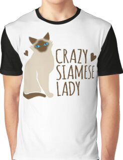 Crazy SIAMESE cat Lady Graphic T-Shirt