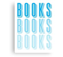 BOOKS BOOKS BOOKS in blue Canvas Print