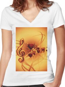 Clef Women's Fitted V-Neck T-Shirt