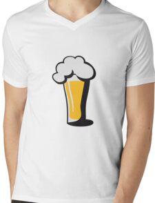 Beer drinking glass drinking alcohol Mens V-Neck T-Shirt