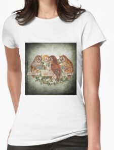 Vintage Owl Womens Fitted T-Shirt
