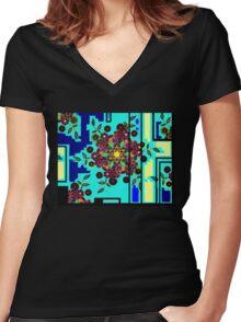 ZEN BLUE GARDEN WINDOW Women's Fitted V-Neck T-Shirt