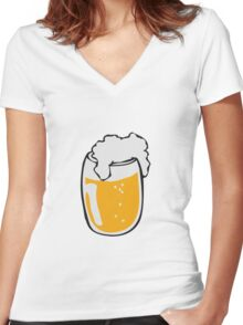 Drinking beer glass drink Women's Fitted V-Neck T-Shirt