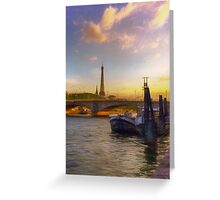 Sunset on the Seine Greeting Card