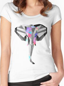 Low-Poly Elephant Women's Fitted Scoop T-Shirt