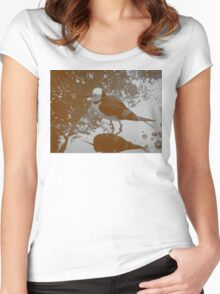 Black-winged Stilt - Sepia Women's Fitted Scoop T-Shirt
