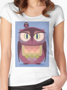 THE SAT UPON OWL Women's Fitted Scoop T-Shirt
