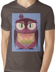 THE SAT UPON OWL Mens V-Neck T-Shirt