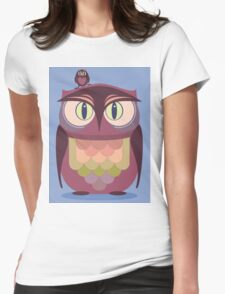 THE SAT UPON OWL Womens Fitted T-Shirt