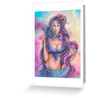 beautiful girl fantasy with fan Greeting Card
