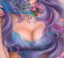 beautiful girl fantasy with fan Sticker