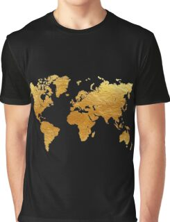 Black and Gold World Map Graphic T-Shirt