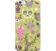 Funny animals on green iPhone Case/Skin
