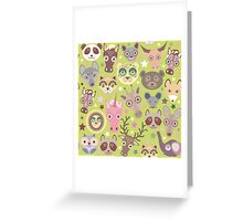 Funny animals on green Greeting Card
