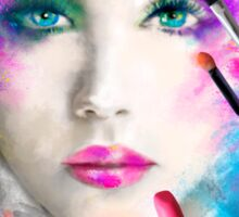 Woman face. fashion illustration. make up,abstract Sticker