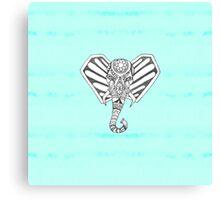 Hand Drawn Bohemian Tangle Elephant Aqua Tie Dye Canvas Print