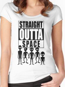 Straight outta space Women's Fitted Scoop T-Shirt