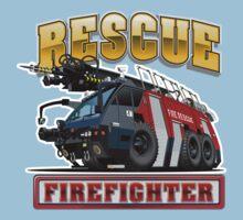 Cartoon Fire Truck One Piece - Short Sleeve