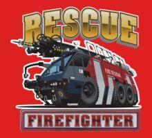 Cartoon Fire Truck One Piece - Long Sleeve