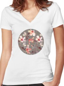 Coral Hibiscus Women's Fitted V-Neck T-Shirt