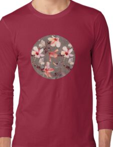 Coral Hibiscus Long Sleeve T-Shirt