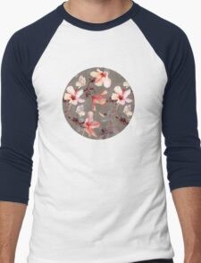 Coral Hibiscus Men's Baseball ¾ T-Shirt
