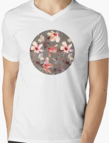 Coral Hibiscus Mens V-Neck T-Shirt