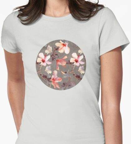 Coral Hibiscus Womens Fitted T-Shirt