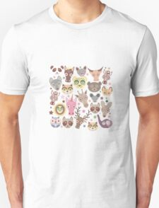 Funny animals on green Unisex T-Shirt