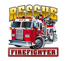 Vector Cartoon Fire Truck Photographic Print