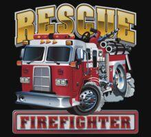 Vector Cartoon Fire Truck Baby Tee