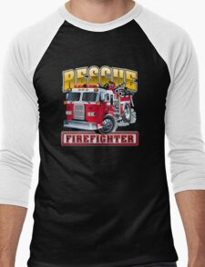 Vector Cartoon Fire Truck Men's Baseball ¾ T-Shirt