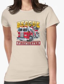 Vector Cartoon Fire Truck Womens Fitted T-Shirt