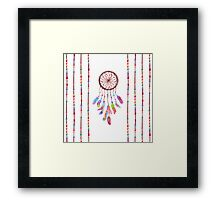 Hand Painted Watercolor Dreamcatcher Beads Feather Framed Print
