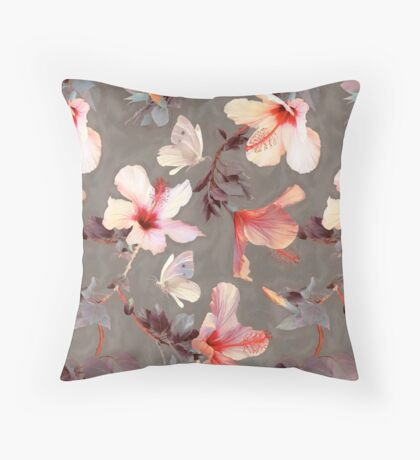 Coral Hibiscus Throw Pillow