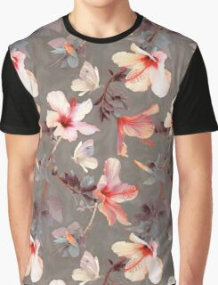Coral Hibiscus Graphic T-Shirt