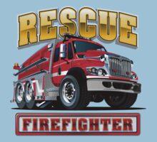 Cartoon Fire Truck Baby Tee